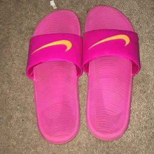 Pink nike slides